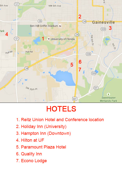 Map of Hotels near UF